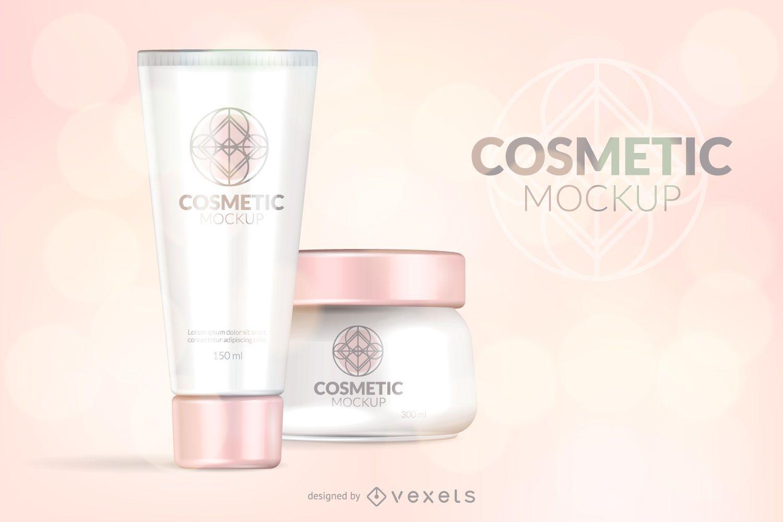 Pink cosmetic packaging mockup