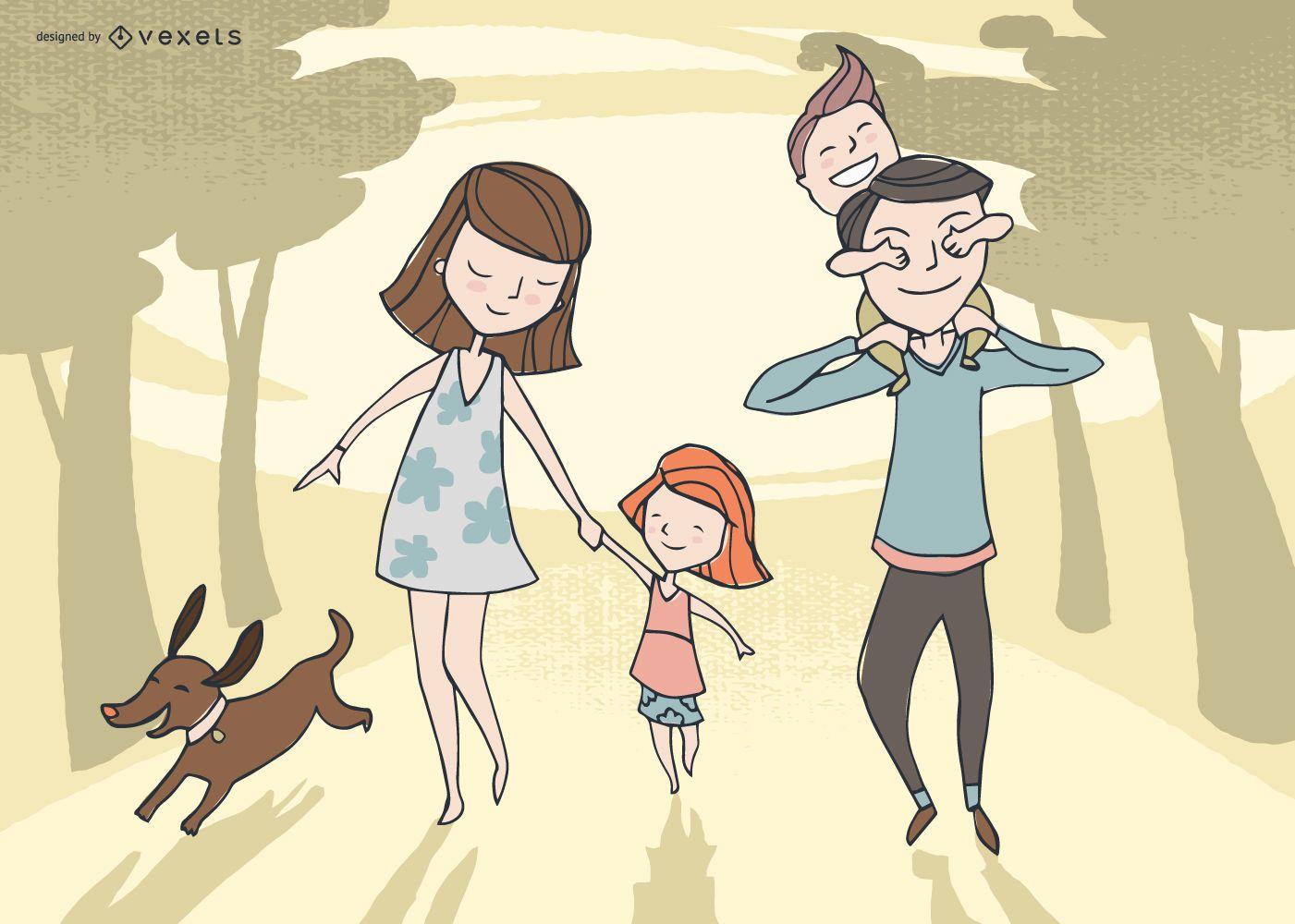 Diseño lindo de la ilustración de la familia