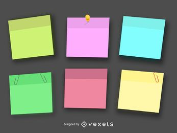 Colorful post it illustration set
