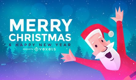 Banner de Natal plana com Papai Noel