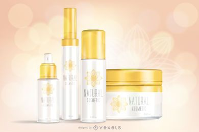 Set of cosmetic cream packaging template