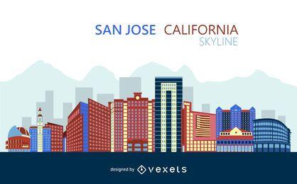 Skyline colorida de San Jose