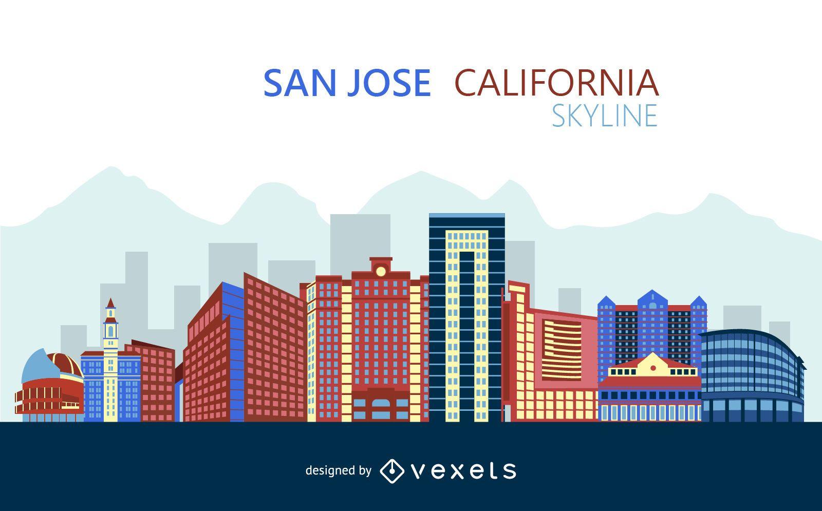 Colorful San Jose skyline