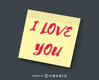 Eu te amo post it note ilustração