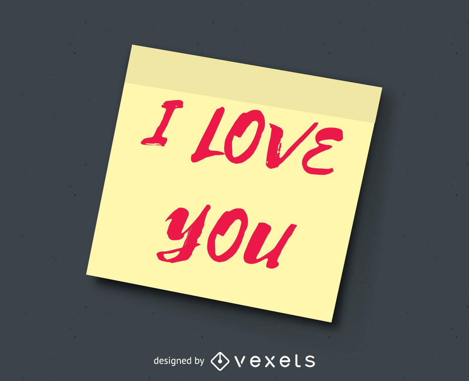 I love you post it note illustration