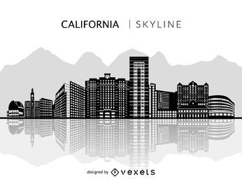 Silueta, são jose, califórnia, skyline