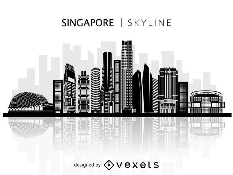 Silhueta de horizonte de Singapura