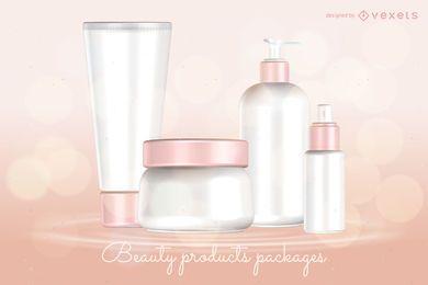 Modelo de pacotes de produtos de beleza