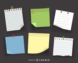 Notas e postá-lo conjunto de ilustração