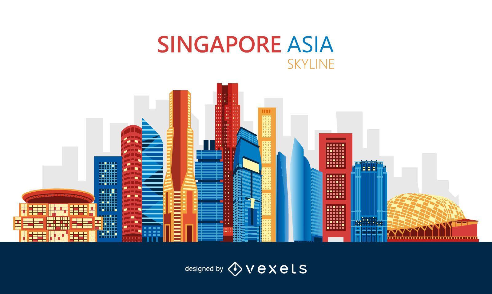 Diseño colorido del horizonte de Singapur