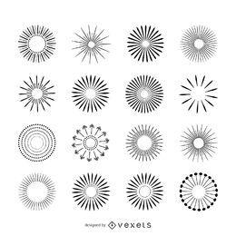 Conjunto de ilustrações de sunburst