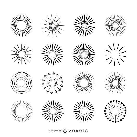 Conjunto de ilustraciones de rayos de sol