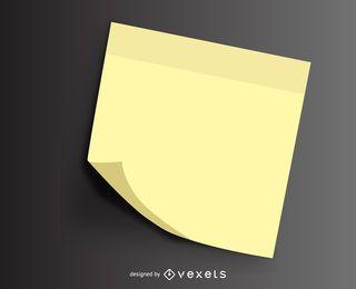 Ilustración de la nota post-it doblada