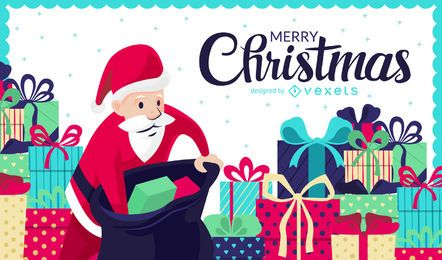 Ilustração de Natal com presentes e Papai Noel