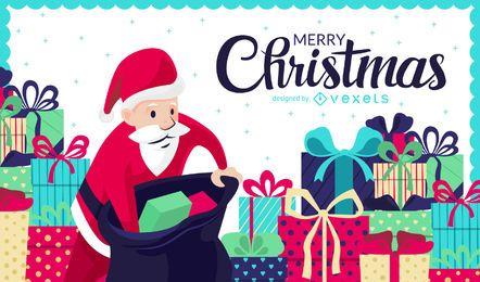 Ilustración de Navidad con regalos y Santa