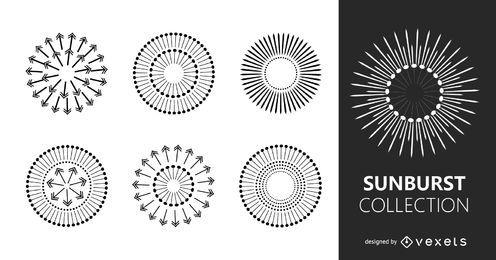 Conjunto de ilustrações de Starburts múltiplas