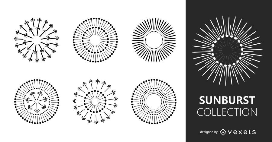 Multiple starburts illustration set