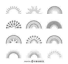 Conjunto de ilustrações de sunburst isoladas