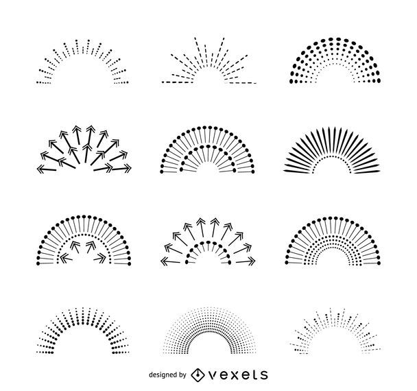 Set of isolated sunburst illustrations - Vector download