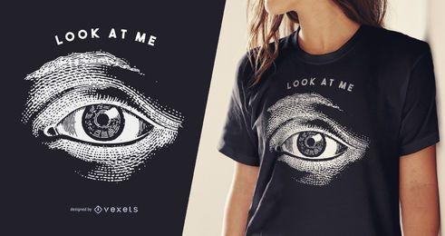 Diseño de camiseta con ilustración de ojos.