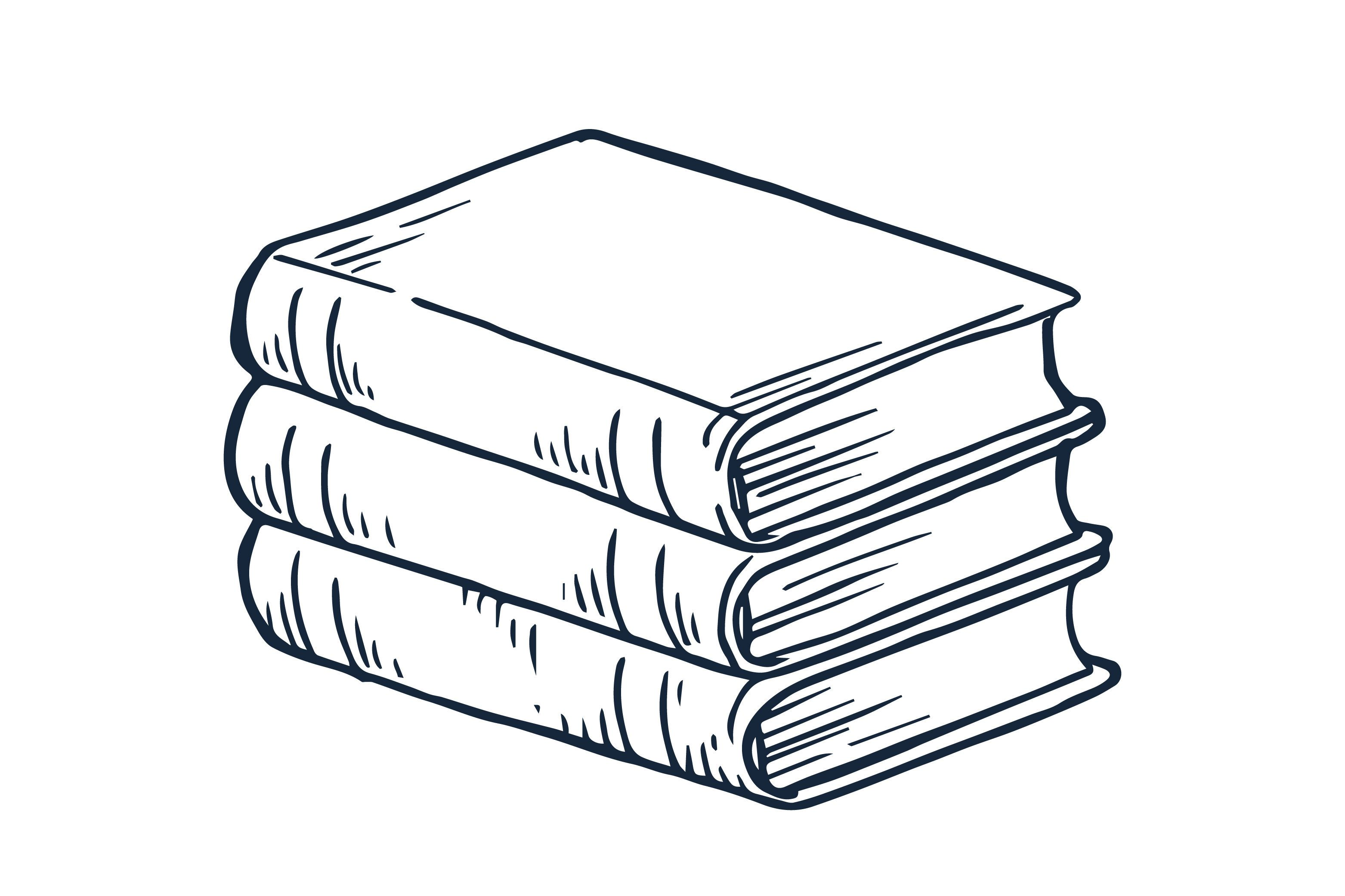 Line art stack of books illustration