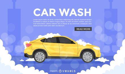 Anúncio de ilustração de lavagem de carro plana