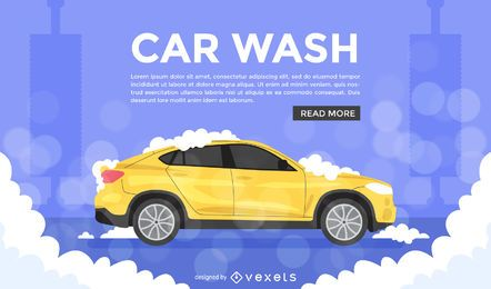 Flat car wash illustration ad