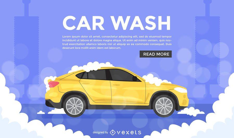 Flat car wash illustration ad