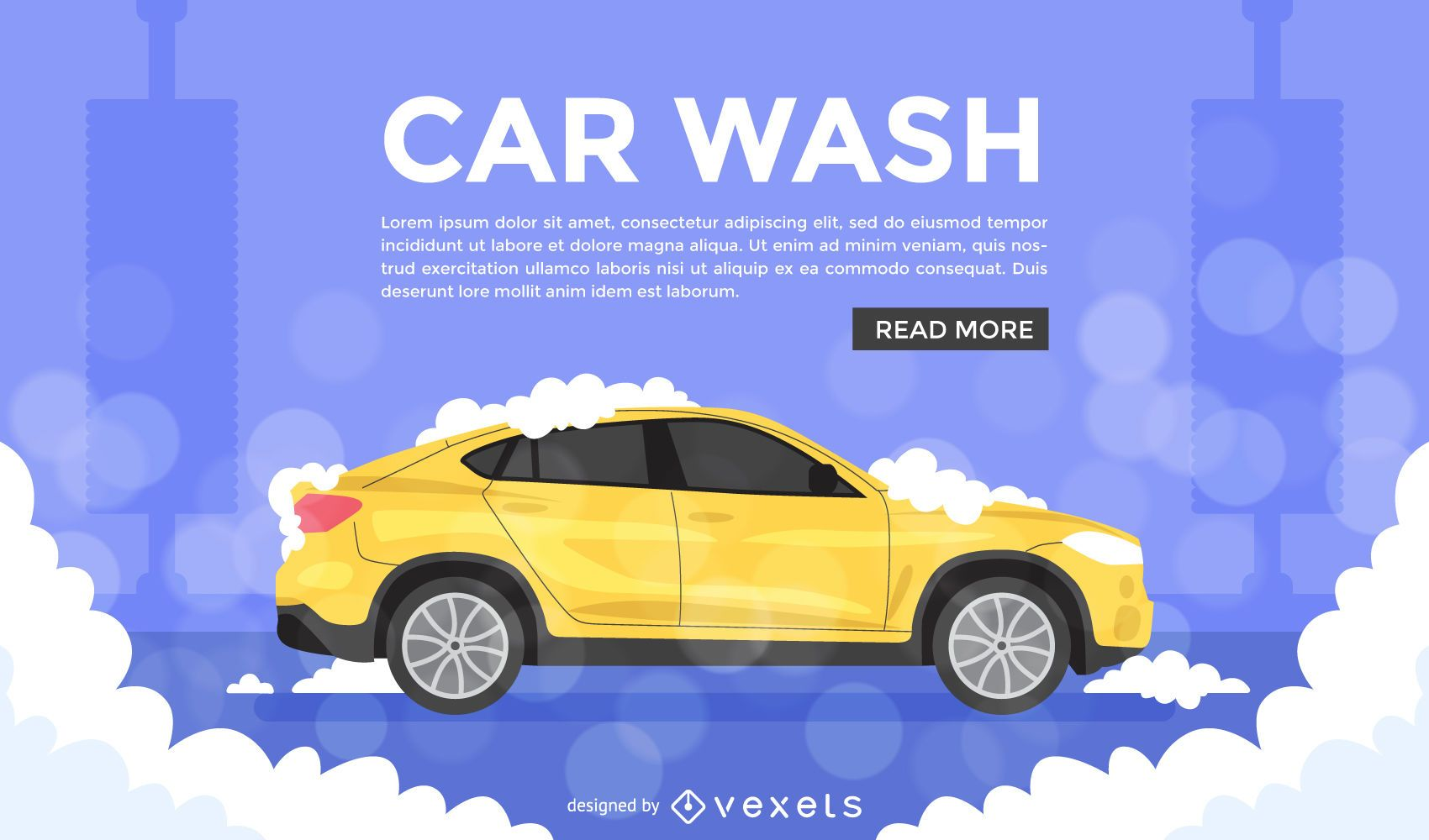 Anuncio de ilustraci?n de lavado de autos plano