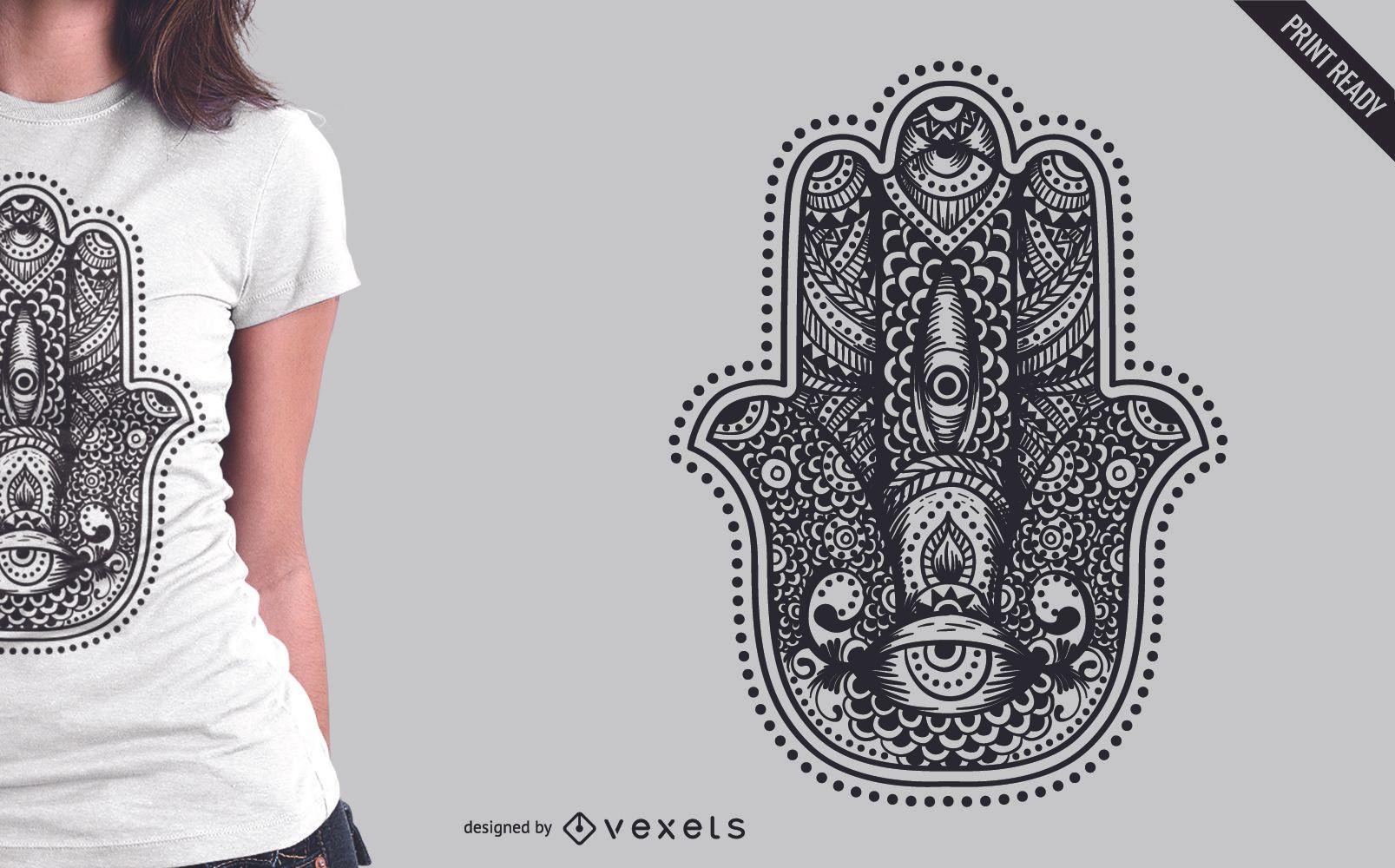 Diseño de t-shit de ilustración de Hamsa