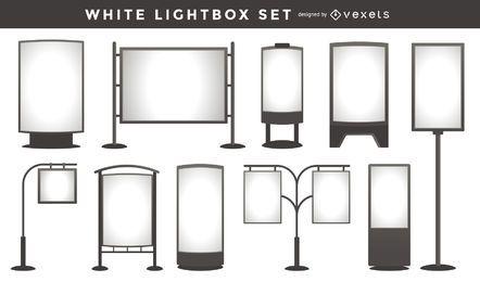 Coleção de modelo de caixa de luz branca