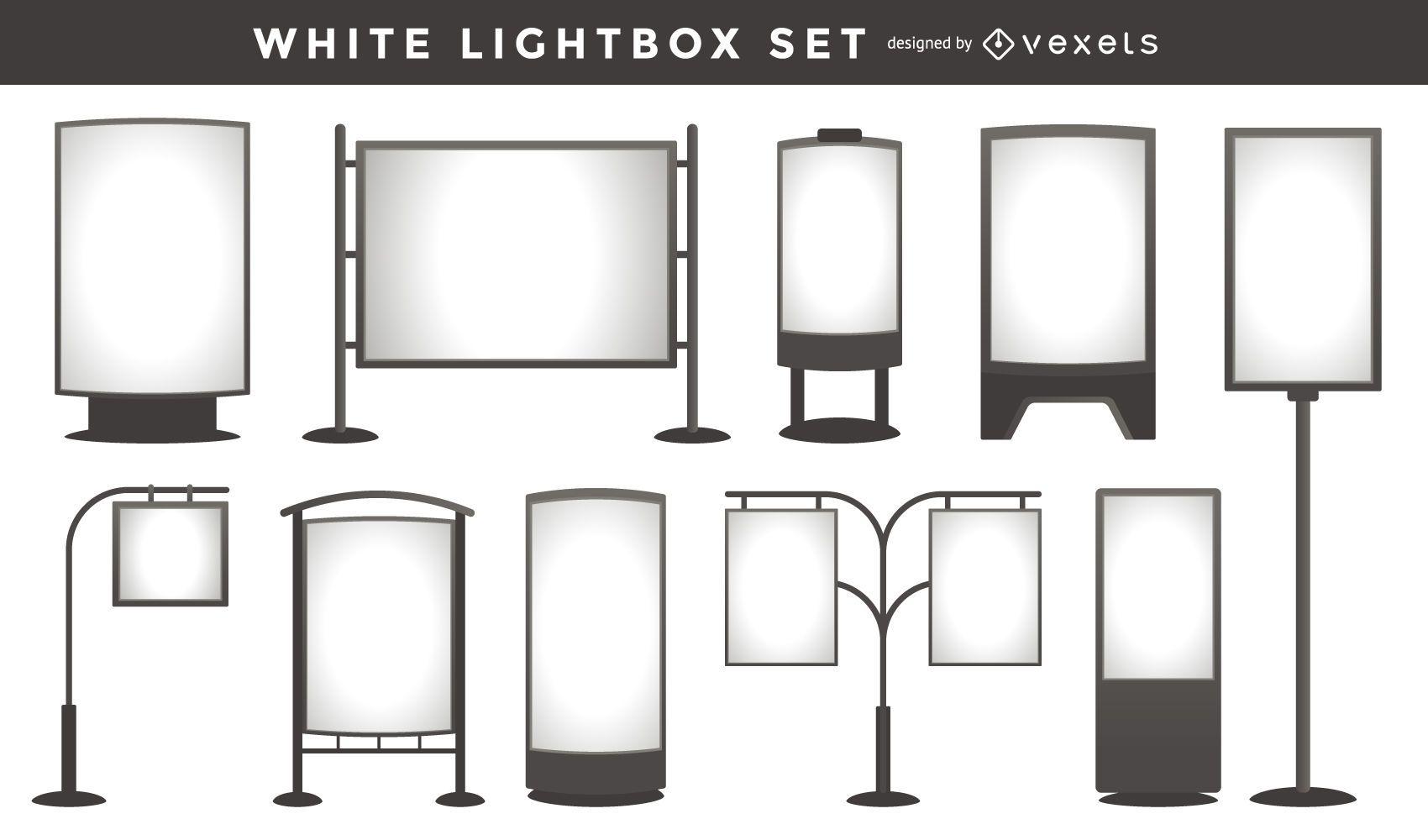 Colección de plantillas de caja de luz blanca