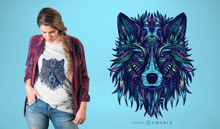 Diseño de camiseta con ilustración de lobo.