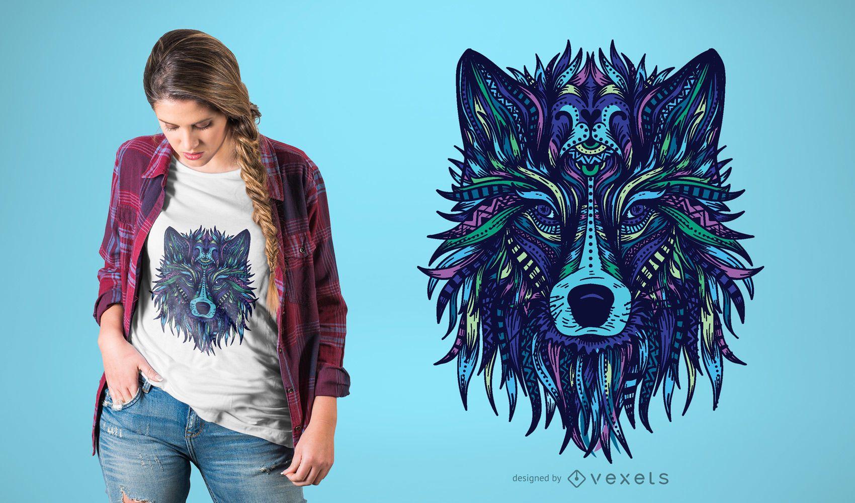 Dise?o de camiseta con ilustraci?n de lobo