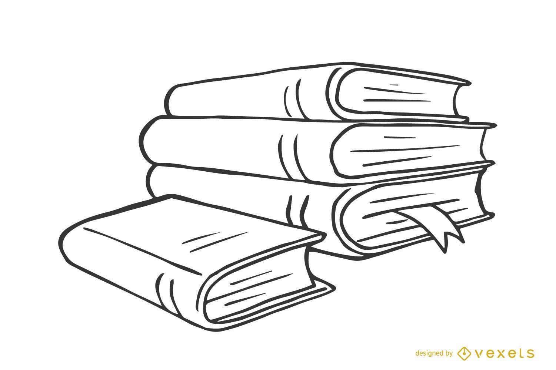 Pilha de livros ilustrados