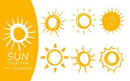 Sol doodle conjunto de ilustração