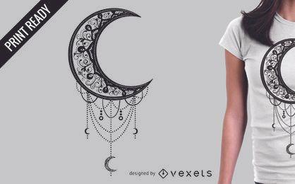 Diseño ilustrado de la camiseta de la luna.