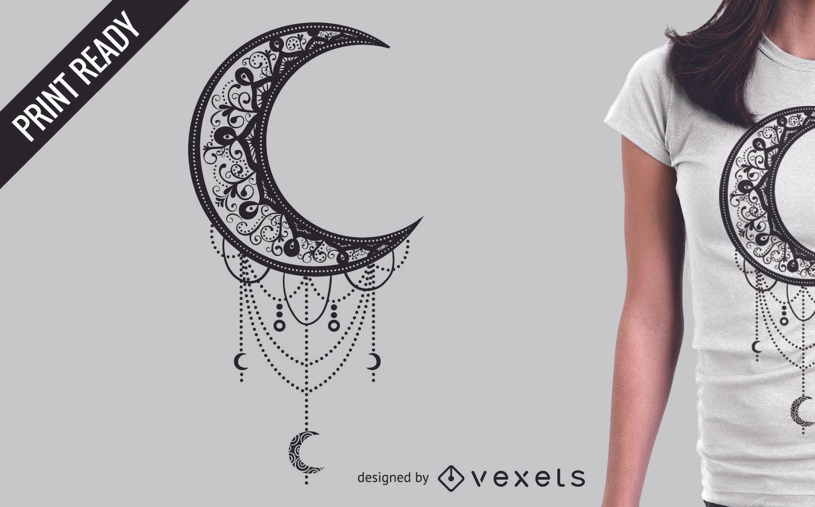 Diseño ilustrado de camiseta de luna.