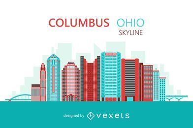 Columbus Ohio colorful skyline
