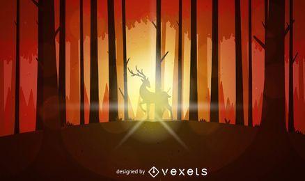 Paisagem do por do sol com cervo em madeiras