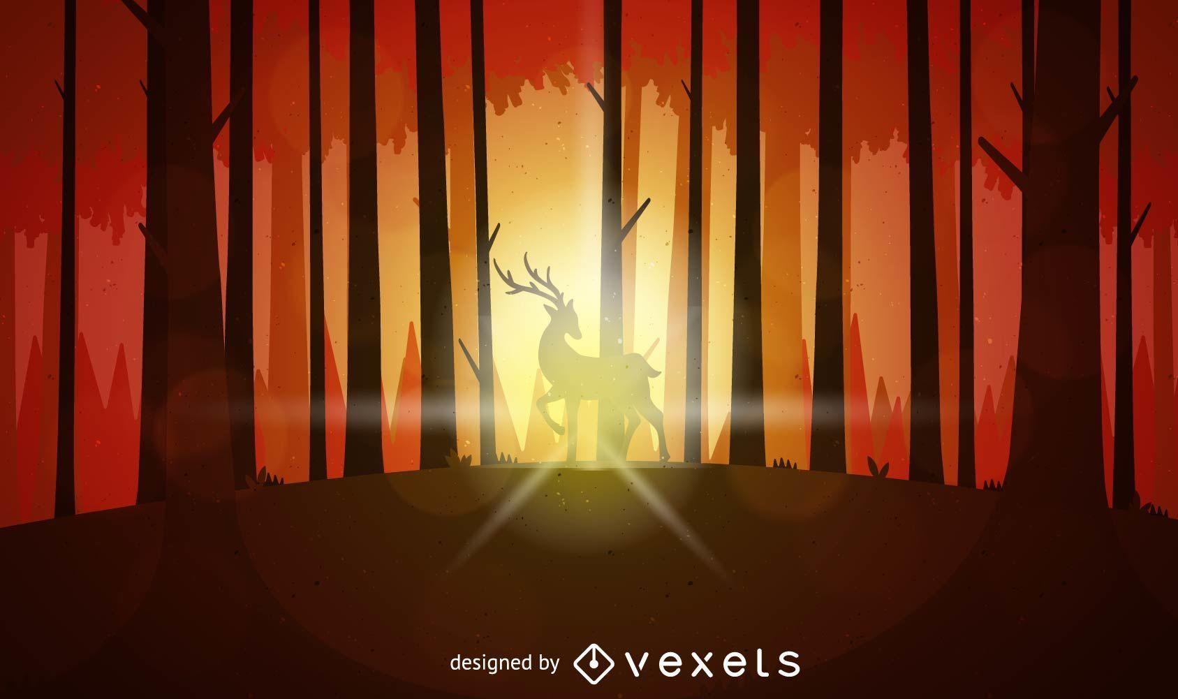 Paisaje al atardecer con ciervos en el bosque