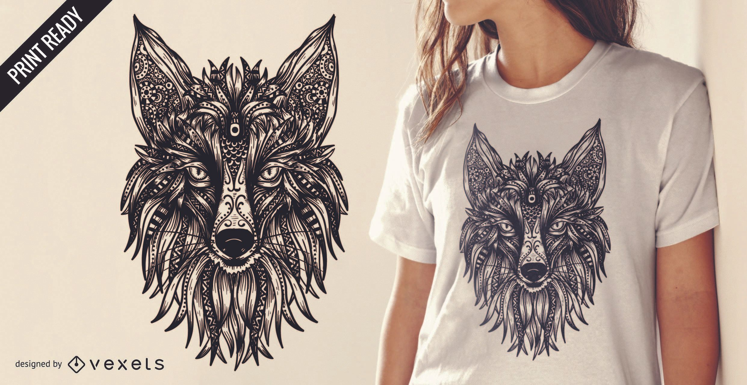 Diseño de camiseta de zorro tribal