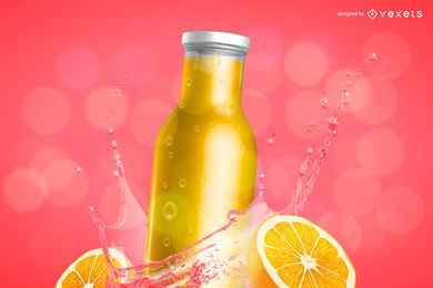 Orange juice bottle mockup ad