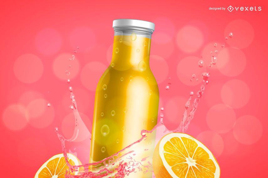 Anuncio de maqueta de botella de jugo de naranja