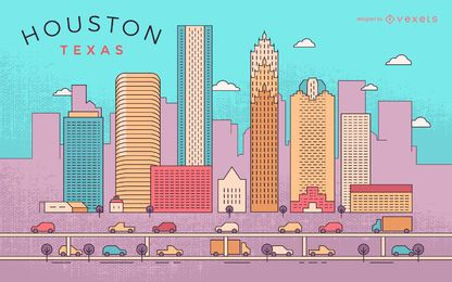 Colorful Houston stroke skyline