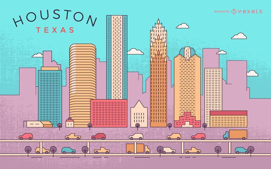Colorful Houston stroke skyline