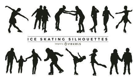 Colección de silueta de patinaje sobre hielo.