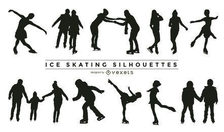Ice skating silhouette collection