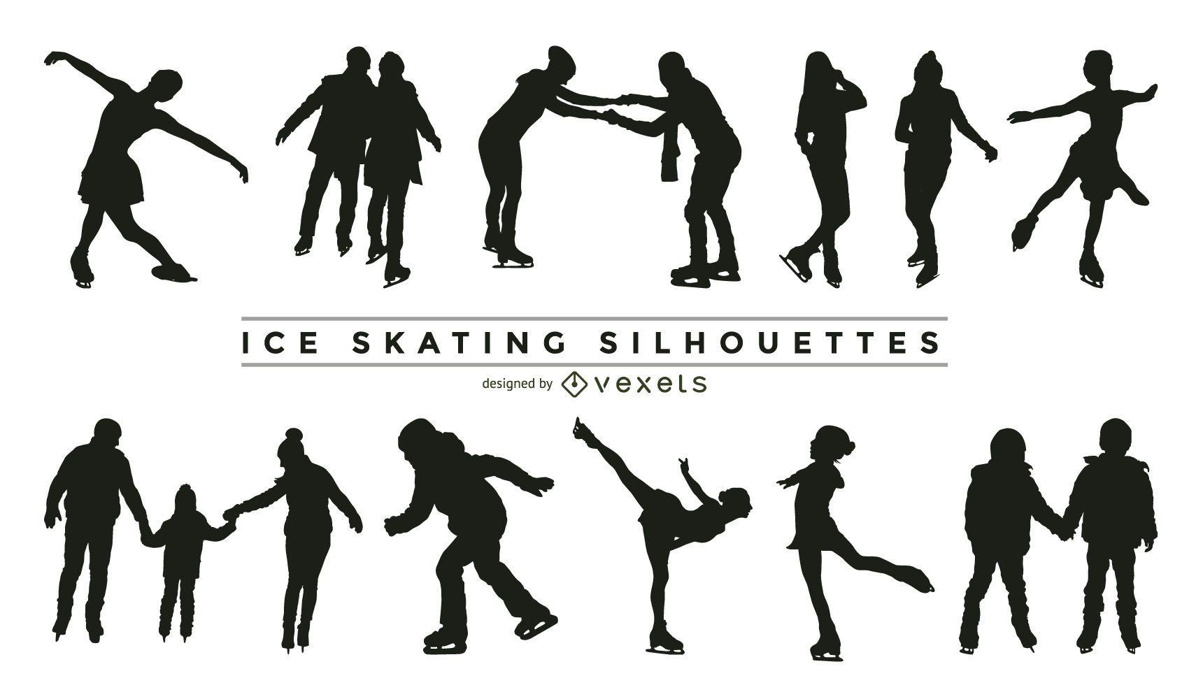 Colección de silueta de patinaje sobre hielo