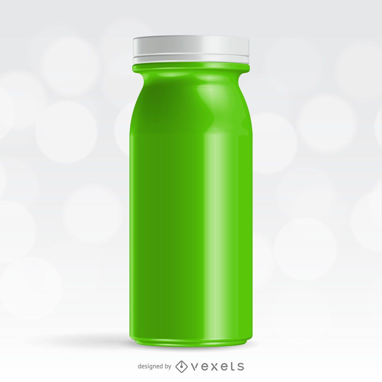 Realistic green juice bottle